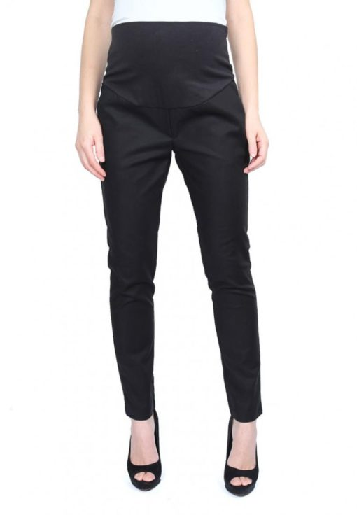 Black Full Panel Slim Fit Pants by 9months for Female