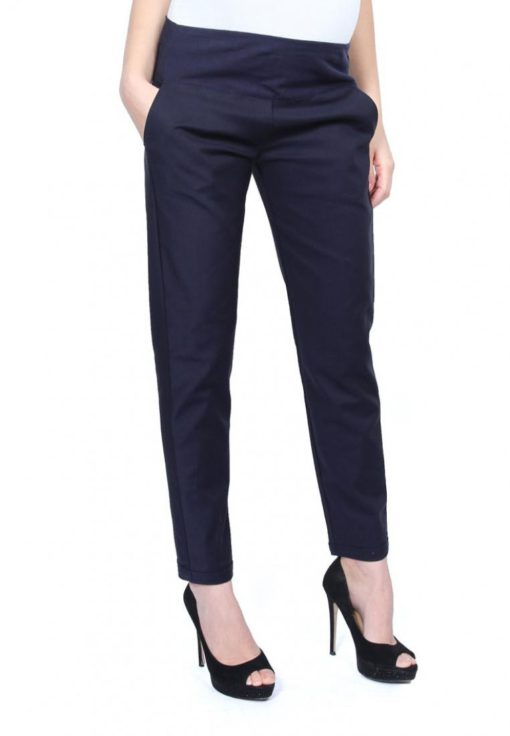 Dark Blue Full Panel Slim Fit Pants by 9months for Female