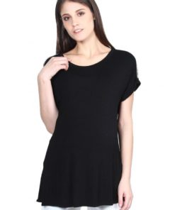 Black Shoulder Embellished Maternity Top by 9months for Female
