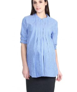 Blue Front Pleated Shirt by 9months for Female
