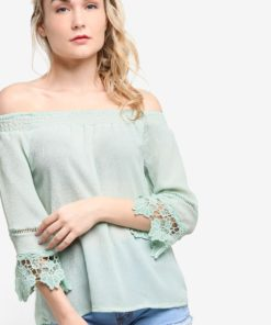 Lace Sleeve Detailed Top by BoyFromBlighty for Female