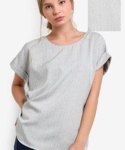 Pinstripe Rolled Sleeve Top by BoyFromBlighty for Female