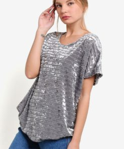 Velvet Effect Tunic Top by BoyFromBlighty for Female