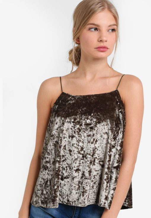 Velvet Textured Spaghetti Camisole Top by BoyFromBlighty for Female