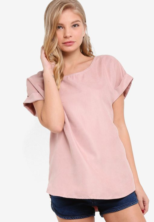 Suede Effect Rolled Sleeve Top by BoyFromBlighty for Female