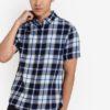 Indigo Short Sleeve Check Shirt by Burton Menswear London for Male