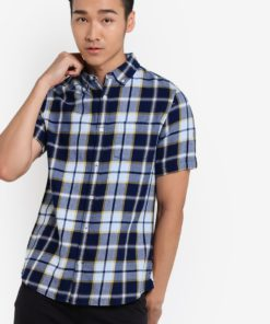 Indigo Short Sleeve Check Shirt by Burton Menswear London for Male