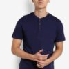 Navy Short Sleeve Grandad Neck T-Shirt by Burton Menswear London for Male