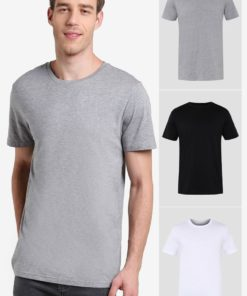 3 Pack Black White & Grey Basic Tees by Burton Menswear London for Male