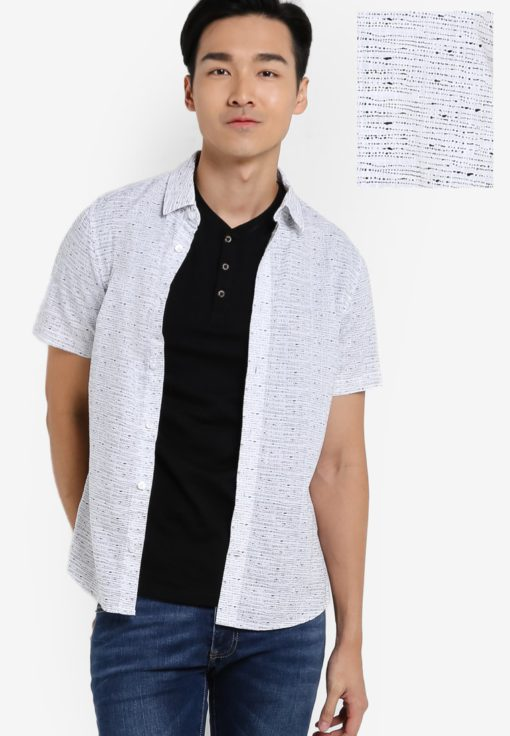 White Short Sleeve Dot Print Shirt by Burton Menswear London for Male