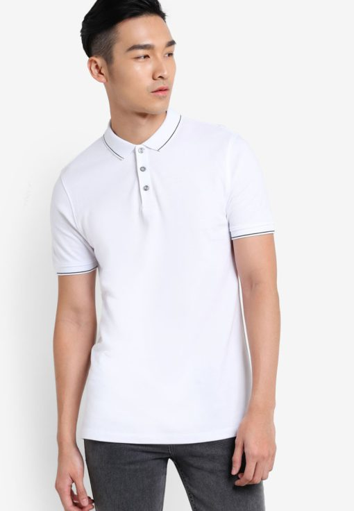 White Polo Shirt by Burton Menswear London for Male