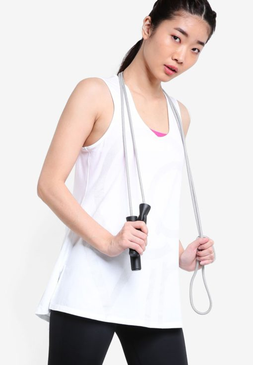 Side Slit Graphic Logo Flare Layered Tank Top by Calvin Klein for Female
