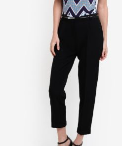 Black Poly Peg Leg Trousers by Dorothy Perkins for Female