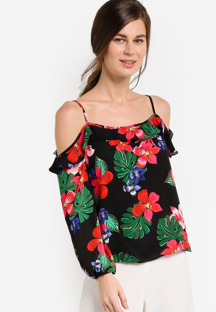 Tropical Strappy Cold Shoulder Top by Dorothy Perkins for Female