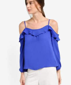 Cobalt Strappy Frill Cold Shoulder Top by Dorothy Perkins for Female