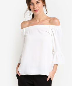White Frill Bardot Top by Dorothy Perkins for Female