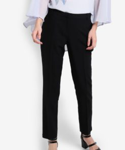 Regular Length Black Poly Straight Trousers by Dorothy Perkins for Female