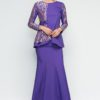 French Lace Contrast Embroidered Baju Kurung by Era Maya for Female