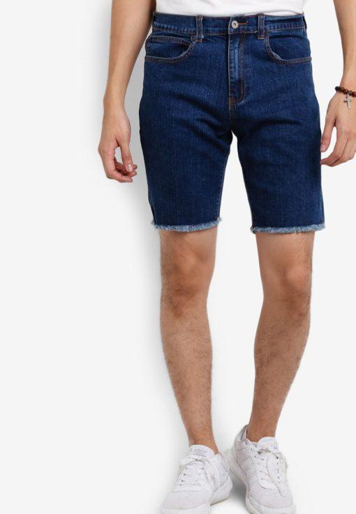 Raw Cut Denim Shorts by Flesh Imp for Male