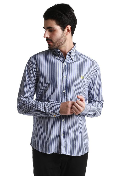 Navy Long Sleeve with White Striped by Fred Perry Green Label for Male