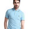 Twin Tipped Sky Blue Polo Shirt by Fred Perry Green Label for Male