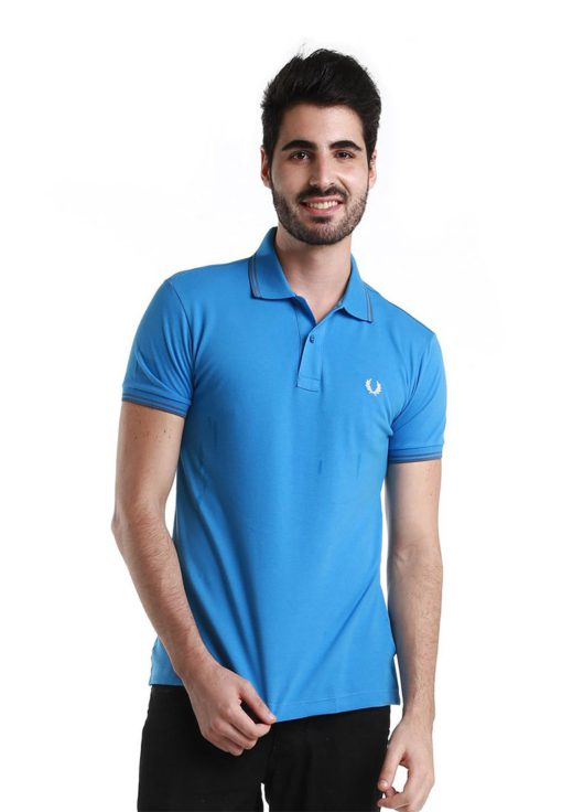 Twin Tipped Blue Polo Shirt by Fred Perry Green Label for Male
