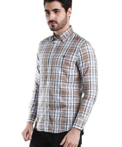 Brown Checkers Long Sleeve Shirt by Fred Perry Green Label for Male