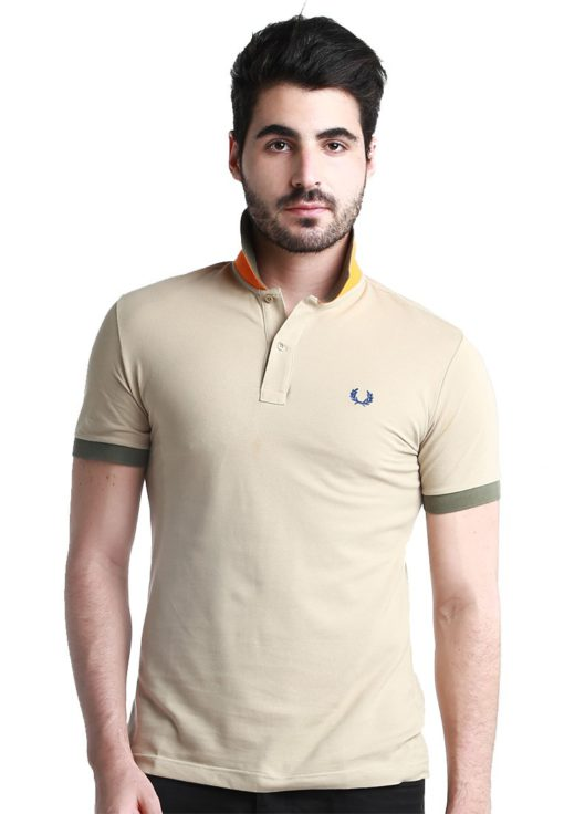 Special UnderCollar Light Brown Polo Shirt by Fred Perry Green Label for Male