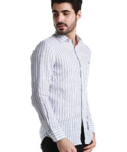 White Long Sleeve Shirt with Blue/Orange/Brown Stripes by Fred Perry Green Label for Male