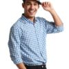 Blue Checker Long Sleeve Shirt by Fred Perry Green Label for Male