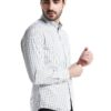 White Long Sleeve Shirt with Blue/Olive Green Striped by Fred Perry Green Label for Male