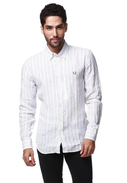 White Long Sleeve Shirt with Multi Striped by Fred Perry Green Label for Male