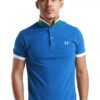Striped UnderCollar Blue Polo Shirt by Fred Perry Green Label for Male