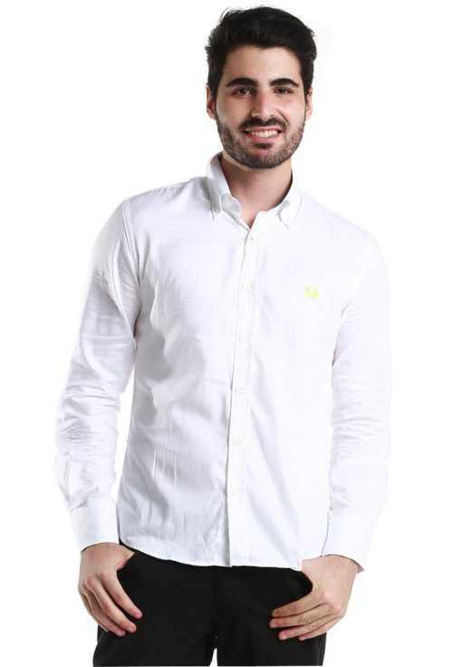 "White Long Sleeve Shirt with Neon """"laurel"""" by Fred Perry Green Label for Male"