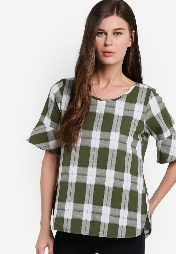 Checkered Short Sleeve Top by Geb. for Female