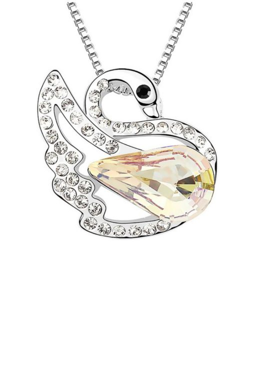 LOVENGIFTS Swarovski Swan Princess Pendant Necklace (Gold) by LOVENGIFTS for Female