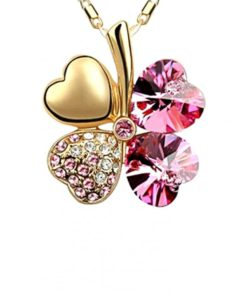 LOVENGIFTS Swarovski Lucky Pendant Necklace 18K Gold (Pink) by LOVENGIFTS for Female