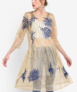 Metallic Embroidered Dress by Mango for Female