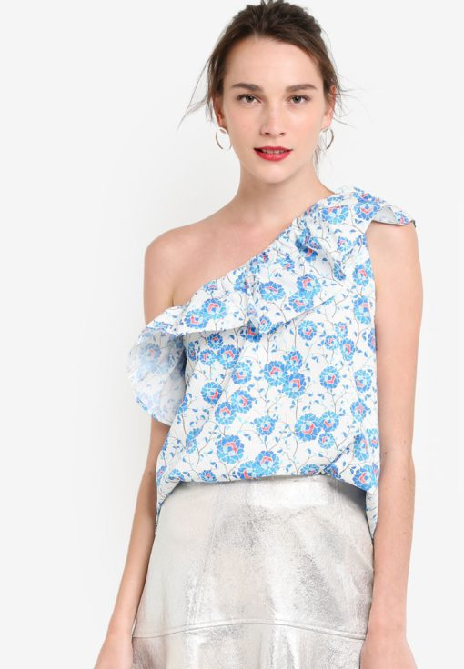 Asymmetric Printed Top by Mango for Female