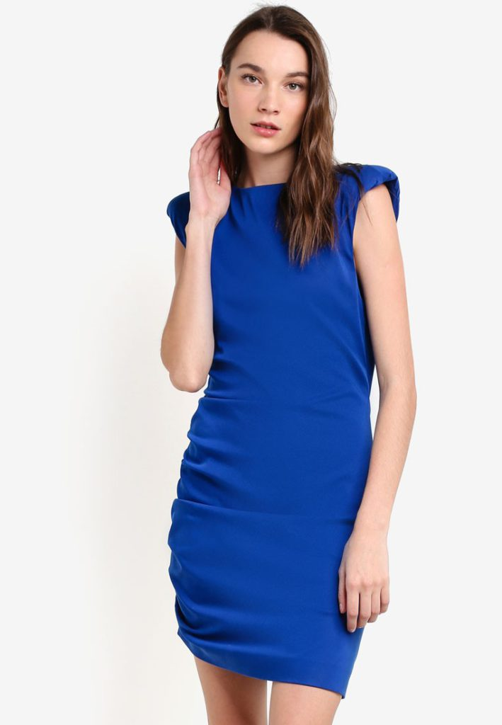 Quilted Shoulders Dress by Mango for Female