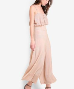 Ruffles Metallic Jumpsuit by Mango for Female