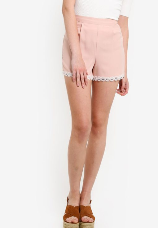 Petite Lace Hem Shorts by Miss Selfridge for Female