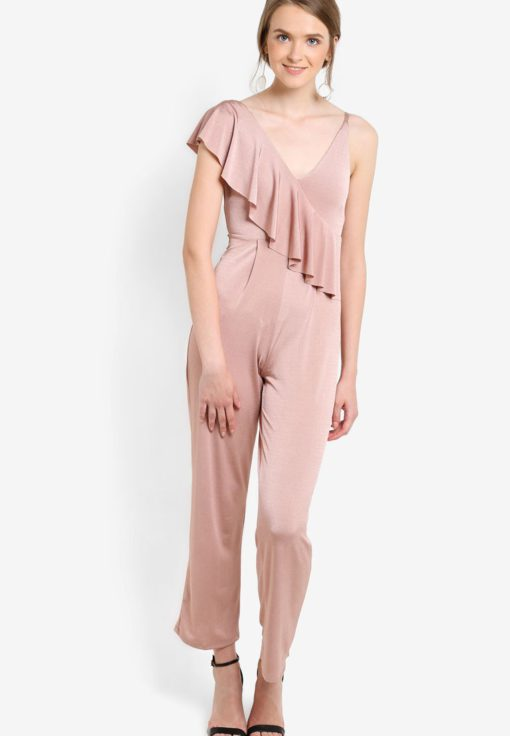 Petite Slinky Ruffle Jumpsuit by Miss Selfridge for Female