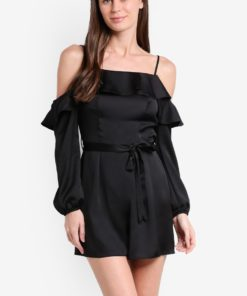 Black Long Sleeve Cold Shoulder Playsuit by Miss Selfridge for Female