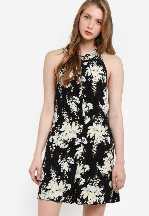 Floral Halter Neck Romper by Miss Selfridge for Female
