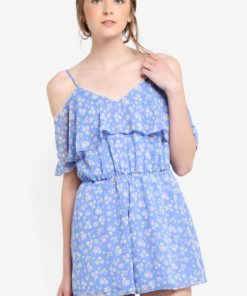 Petite Blue Floral Playsuit by Miss Selfridge for Female