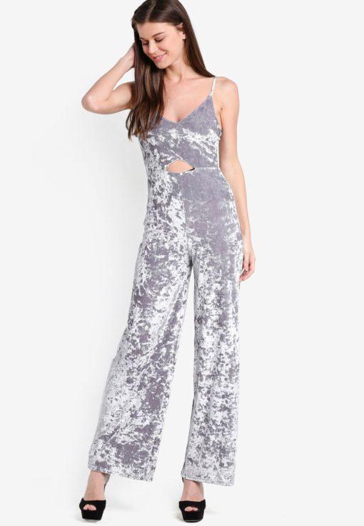 Velvet Cut Out Jumpsuit by Miss Selfridge for Female