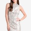 Premium Silver Sequin Chinoiserie Dress by Miss Selfridge for Female