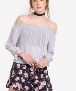 Petite Chiffon Bardot Top by Miss Selfridge for Female