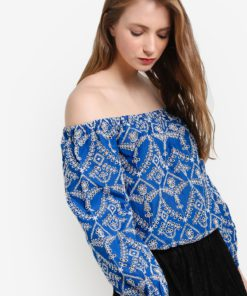 Blue Schiffly Long Sleeve Bardot Top by Miss Selfridge for Female